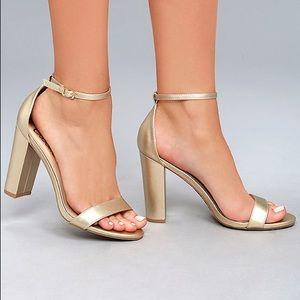 Lulu's Gold Taylor Block Heel Ankle Strap Sandals